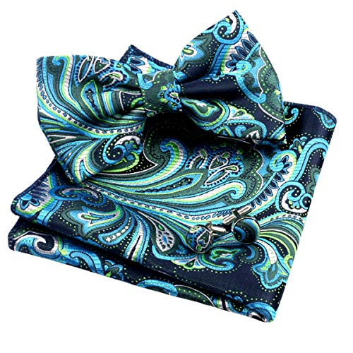 Alizeal Mens Multi-color Floral Pre-tied Bow Tie, Pocket Square and Cufflinks Set, Dark Green+Turquoise ()