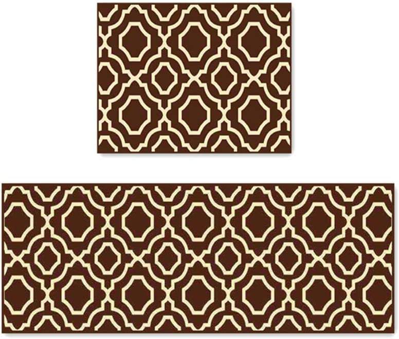 "Easychan Kitchen Rugs Bathroom Mat Doormat Soft Rubber Backing Carpet 2 Piece Set (15""x47""+15""x23"", Brown)"