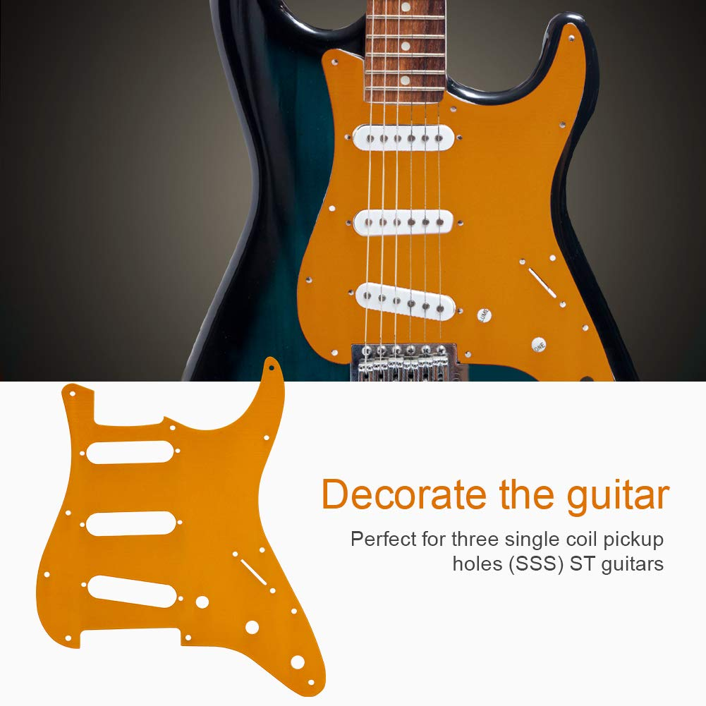 Dilwe Guitarra Pickguard Cubierta de Pickup, Aleación de Aluminio SSS Pick Guard con Cubierta de Pickup para Guitarra ST Accesorio Instrumental de ...
