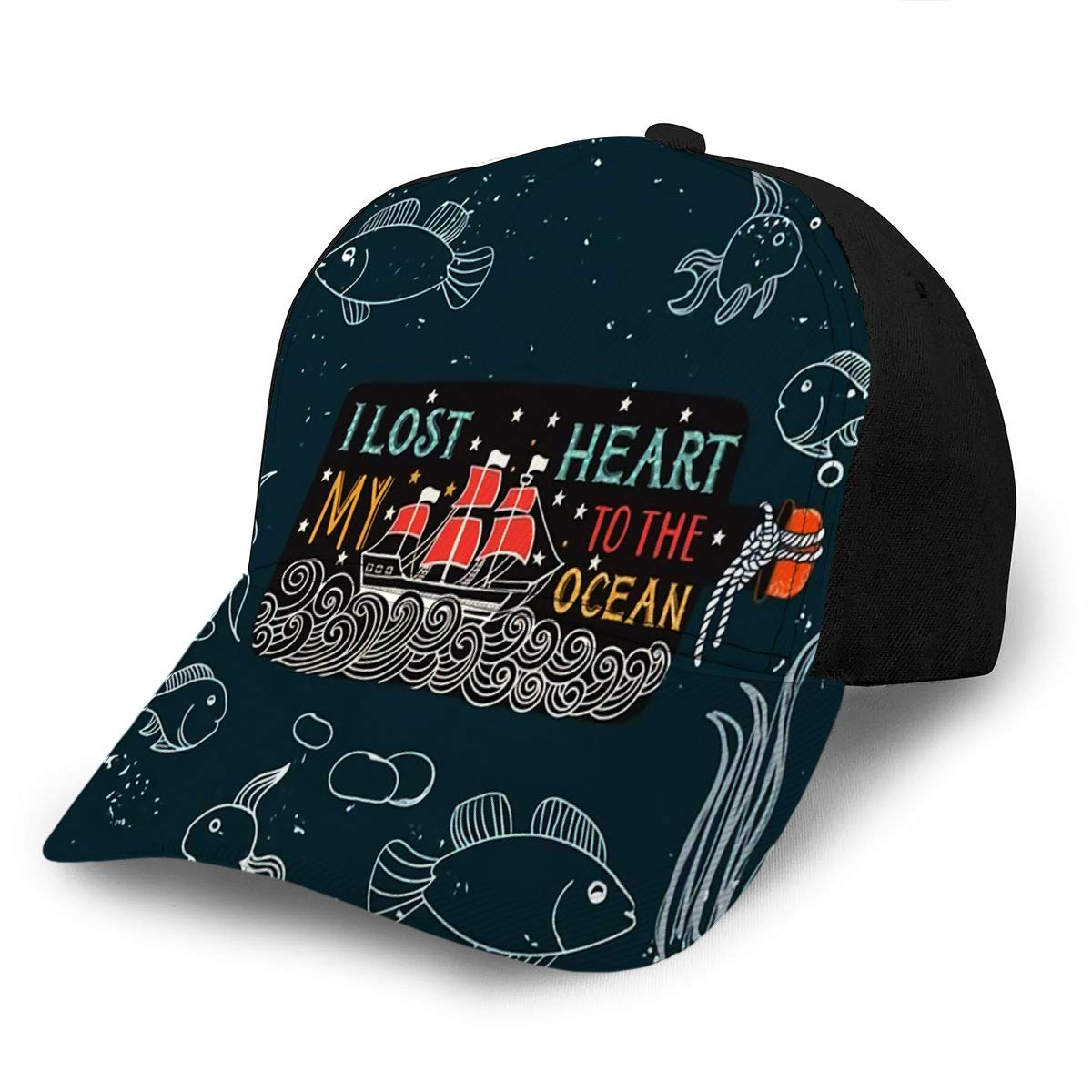 Unisex Adjustable Sport Cap Vintage Label with Ship in Bottle and Lettering This