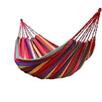 Double Canvas Travel Hammock / Outdoor Bed 98.5*59 Inches 400lbs, Rainbow Color (Red) with 2 Hammock Tree Straps