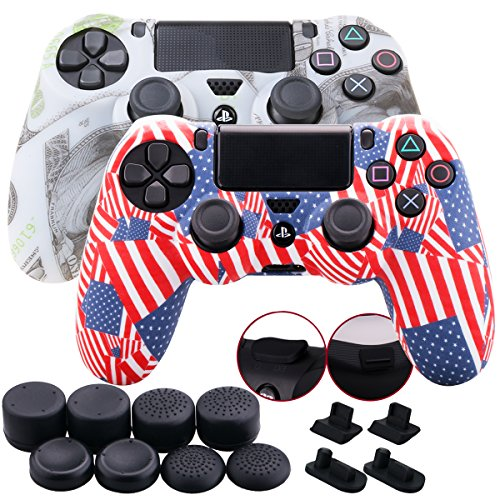 (9CDeer 2 Pieces of Silicone Water Transfer Protective Sleeve Case Cover Skin + 8 Thumb Grips Analog Caps + 2 sets of dust proof plug for PS4/Slim/Pro Controller, US Dollar 2 Pack)