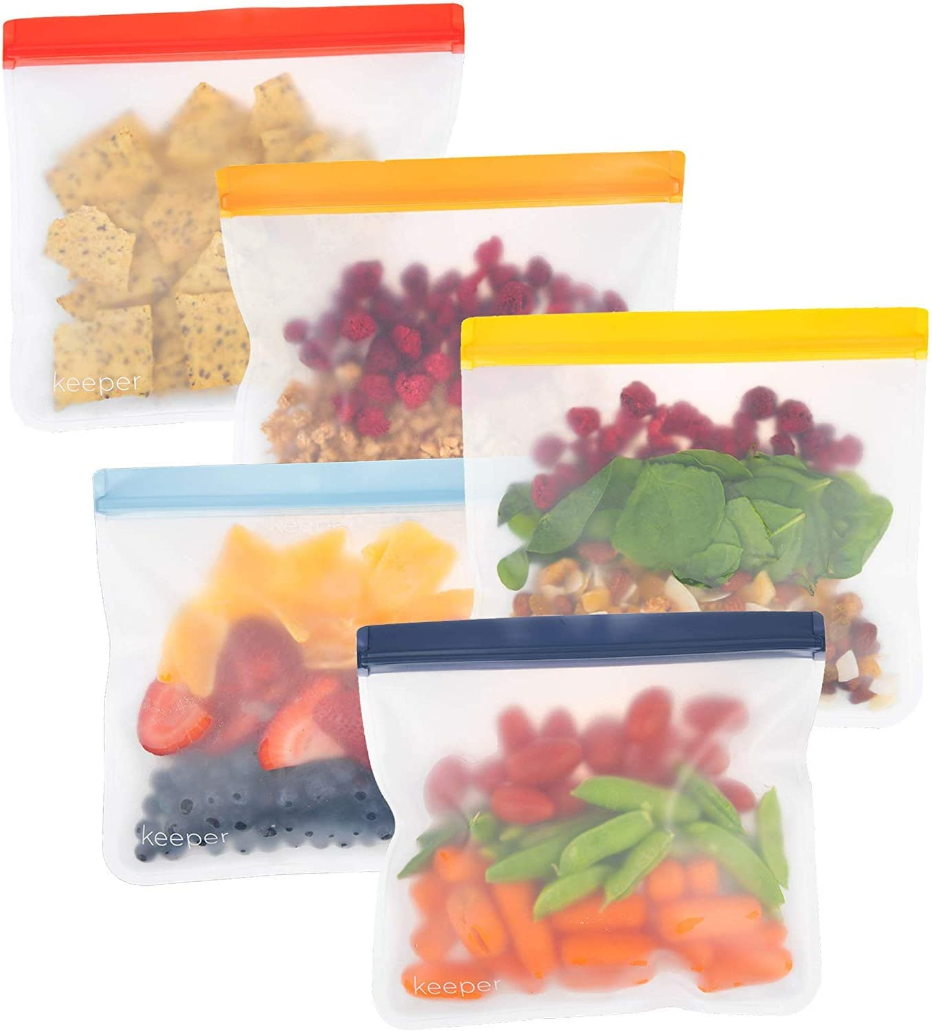 Keeper Reusable Sandwich Bags (Set of 5, 32oz) - Extra Thick Reusable Ziplock Bag For Food, Lunch Storage. Reusable Snack Bags for Kids Are Resealable. Plastic Lunch Baggies Are Washable, Freezer Safe