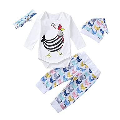 cfe6baac7fb6c Amazon.com  Newborn Baby Girl Boy 0-24 Months Turkey Thanksgiving Romper  Tops Pants Hat Clothes Set  Clothing