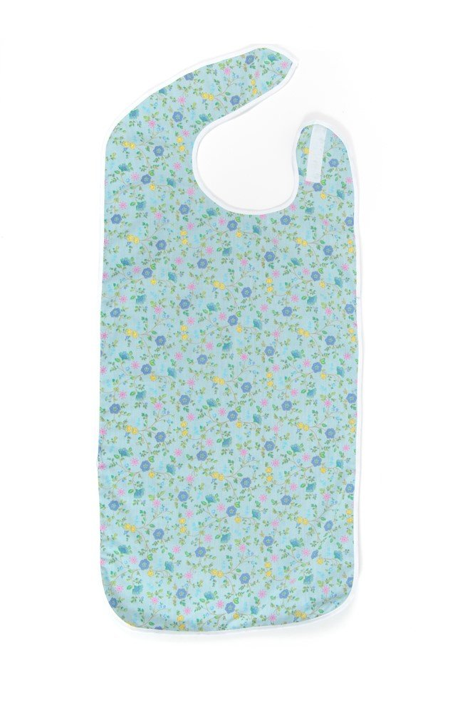 Comfort Finds Adult Bibs - Shirt Saver - Lightweight Waterproof - Full Coverage - Easy Hook & Loop Closure - Machine Washable (Blue Floral, 3 Pack Large 27'' x 23'') by Active Care