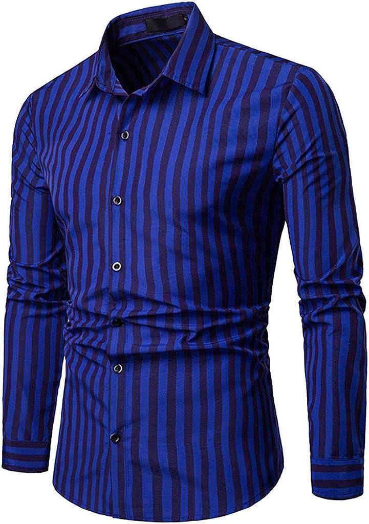 WM /& MW Striped Shirt,Men/'s Long Sleeve Slim Fit Dress Shirt Button Shirt Casual Party Top Lapel Blouse