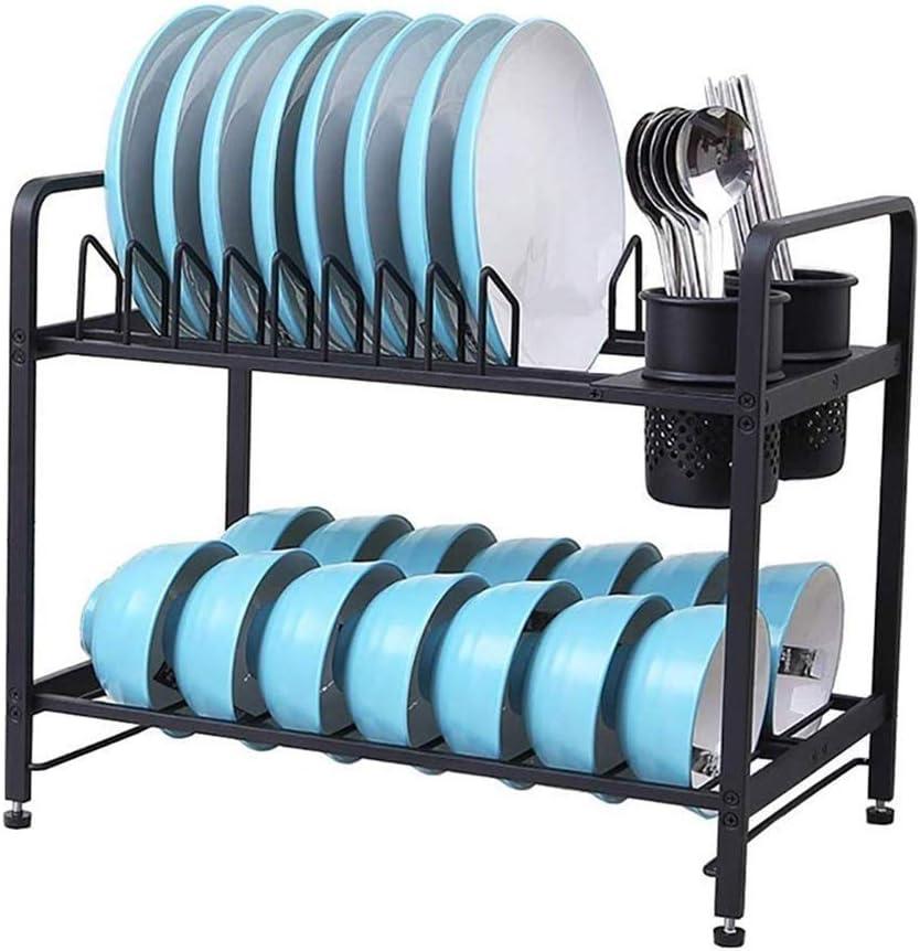 IhDFR 水切りシンク、多機能ストレージラック、食器水切り金属アルミ2層キッチンラック皿をオーバーラック(色:ブラック)