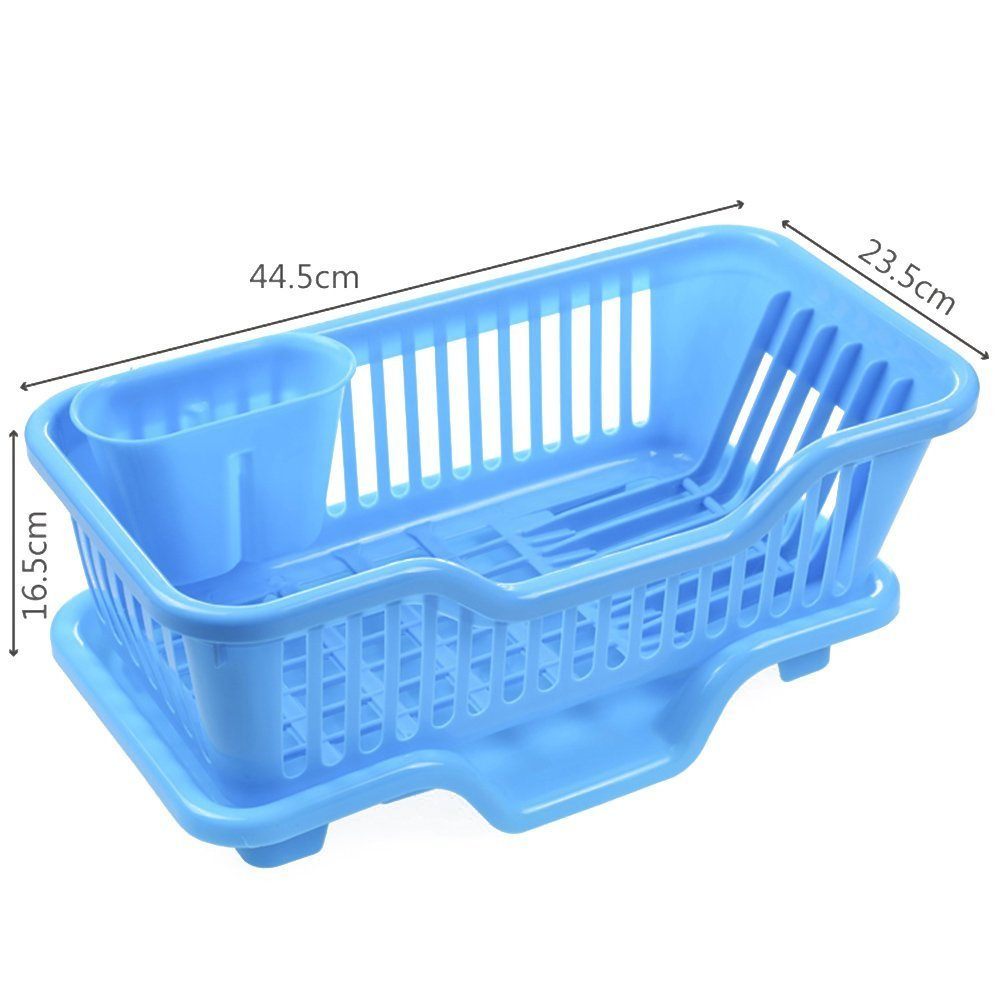 "XHHOME Environmental PP Plastic Kitchen Sink Dish Drainer Set Rack Washing Holder Basket Organizer Tray, Approx 17.5"" x 9.5"