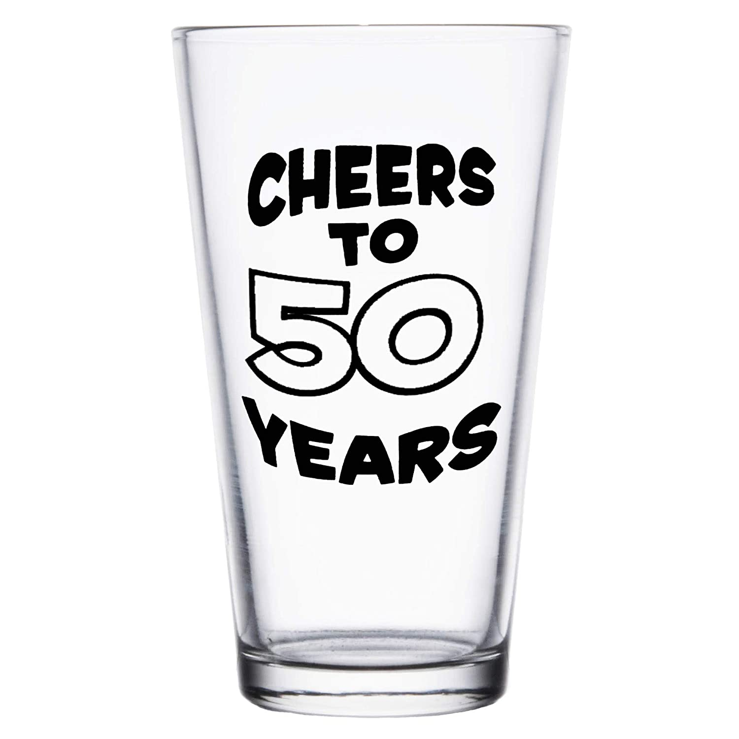 Shop4Ever Cheers To 50 Years Printed Beer Pint Glass ~ 50th Birthday Gift ~ (Black Print) BP_50YRSBLK
