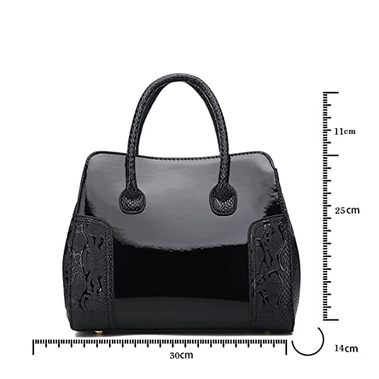 Amazon.com | New womens handbag luxury elegant Patent leather Top handle bag shoulder bag for women | Shoes