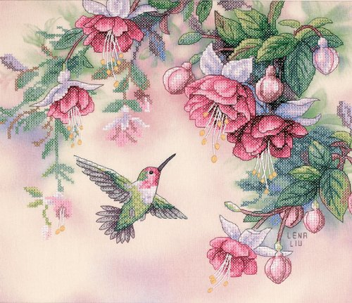 ross Stitch Kit - Hummingbird & Fuchsias (Fuchsia Embroidery)
