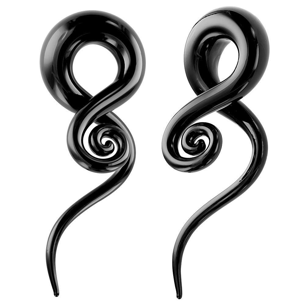 Black Glass Spiral Hanger Taper Plug 2G Pair FreshTrends PLG-1527-6