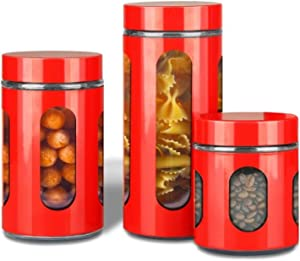 AIR-TIGHT KITCHEN CANISTER SET By Premius, 3-Piece Glass and Metal Canisters, Quick Access And Space Saving, Great Safe And Fresh Food, Convenient Sizes, Modern Design (Red)