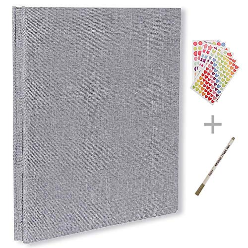 Self Adhesive Photo Album Magnetic Scrapbook Album 40 Pages Hardcover Length 11 x Width 10.6 (inches) with Photo Album Storage Box DIY Accessories Kit (Grey)