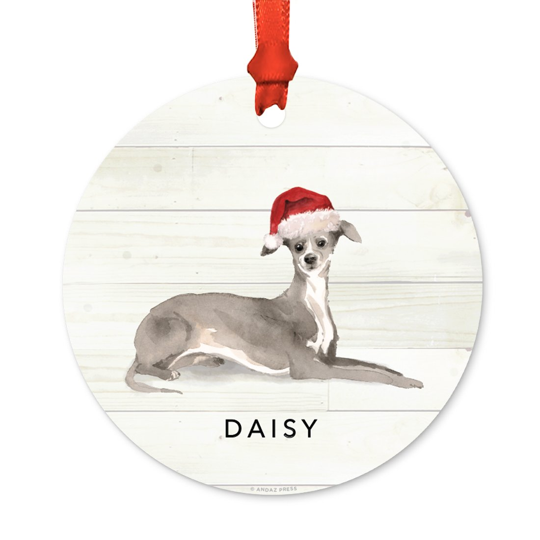 Andaz Press Personalized Animal Pet Dog Metal Christmas Ornament, Italian Greyhound with Santa Hat, 1-Pack, Includes Ribbon and Gift Bag, Custom Name
