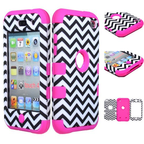 KINGCO 3in1 Chevron Wave Pattern Hybrid High Impact Armor Defender Case Combo for Apple ipod touch 4 (Hot Pink) - Combo Ipod