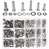 Hilitchi 510Pcs M4 / 5 / 6 Stainless Steel Metric Hex Flat Head Bolts Screws Nuts Flat and Lock Washers Assortment Kit