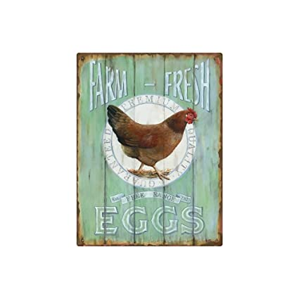 Beau AMERICAN WIT Vintage Farmhouse Decor, Tin 12 X 9 U0027Farm Fresh Eggsu0027 Sign