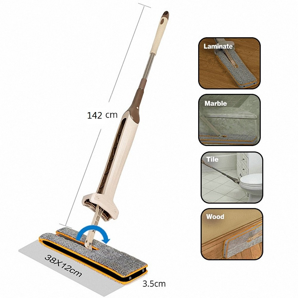 Willsa Lazy Flat Mop,Double Sided Microfiber,Easy Self Wringing,Wet & Dry Clean,Handheld Mop Cleaning Tools with 4 Mop Cloths Perfect for Corner, Bathroom, Kitchen, Tile and Hardwood Floor