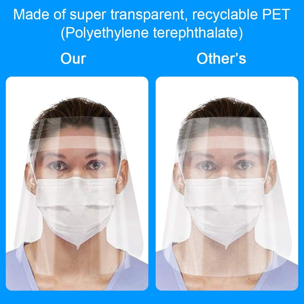 anti-polvere e anti-saliva leggere anti-appannamento Confezione da 10 copertine in plastica regolabili lenti per il viso trasparenti riutilizzabili
