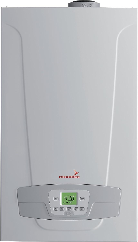 Chappee Initia + HTE 2.24 - Caldera de gas natural de pared, calienta y produce agua caliente, 24 Kw, con tubo de salida de humos, caldera completa lista para instalar