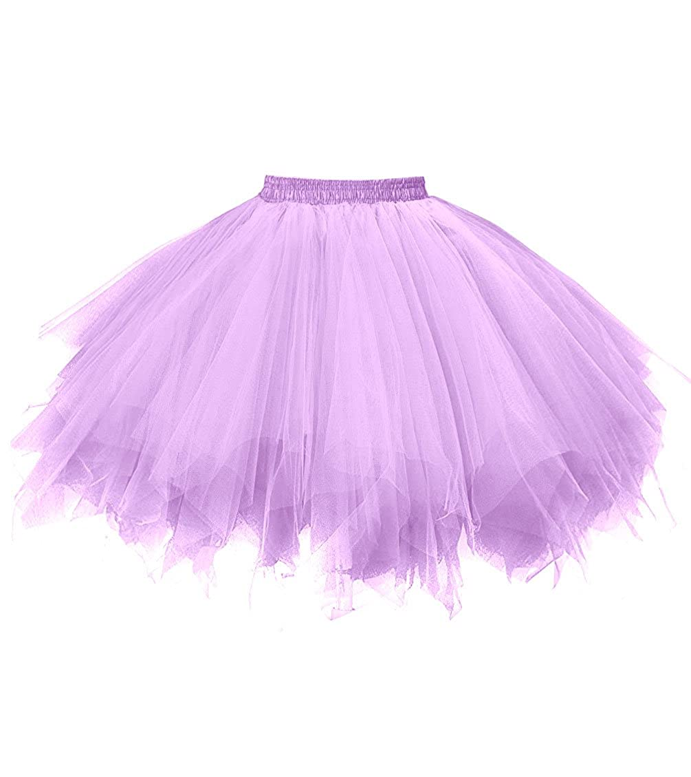 Lavender Dresstore Women's Short Vintage Petticoat Skirt Ballet Bubble Tutu Multicolord