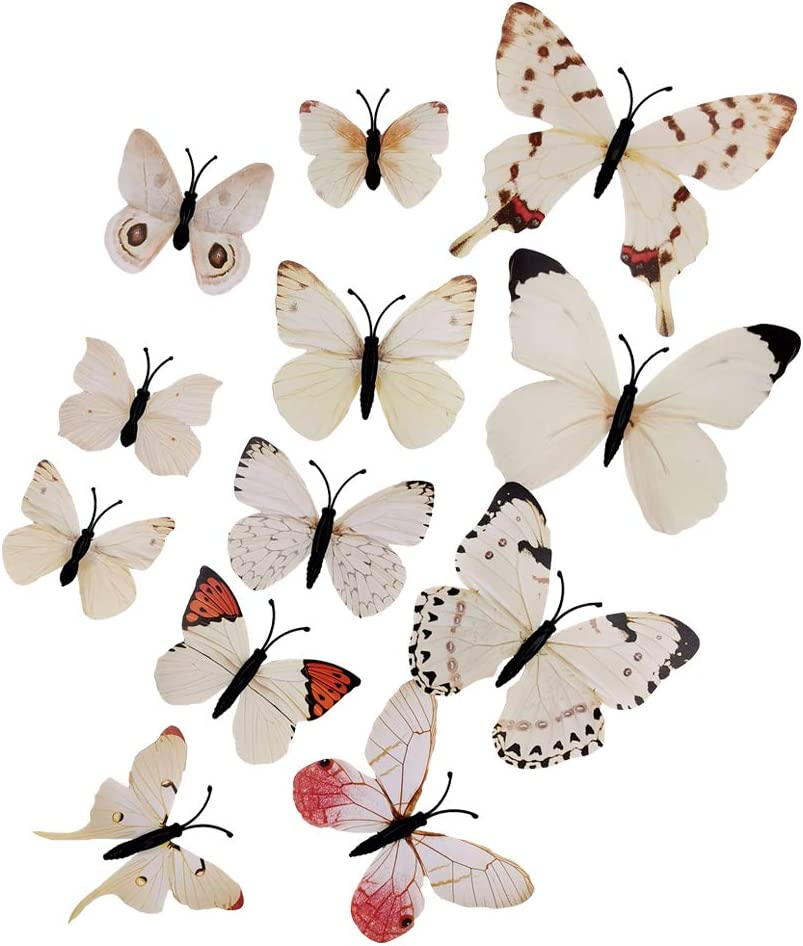 36-Pack Multi-Color 3D Simulation Butterfly Decorative PVC Wall Stickers, Can Be Used for Wedding Scenes, Rooms, Cars, Etc. (Magnet and Double-Sided Adhesive Paste)
