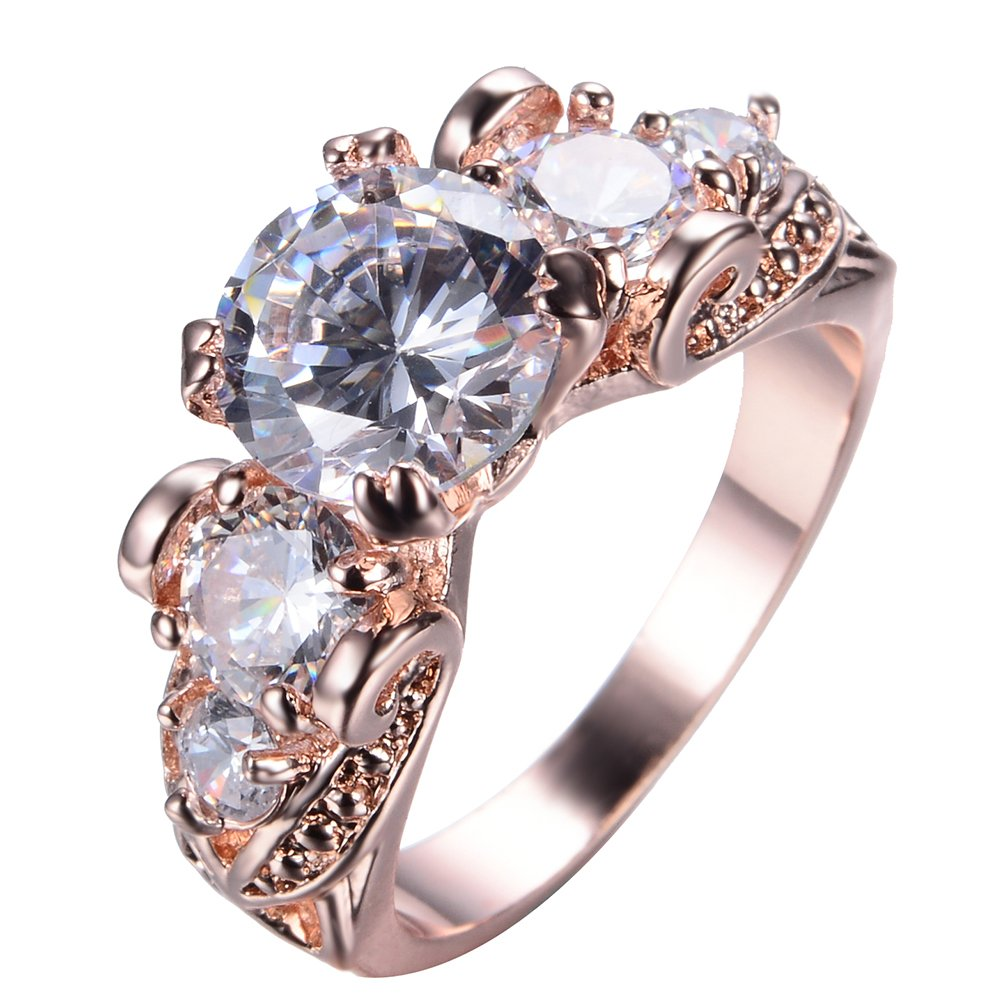 Junxin Top 10 KT Rose Gold Plated Ring,Women and Man Wedding Engagement Promise Rings,Three Stone Rings to Show You Unlimited Beauty and Self Confidence JXRR0004-10