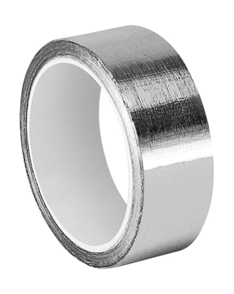 TapeCase Silver Aluminum Foil Tape with Conductive Acrylic Adhesive, Converted from 3M 1120, 6 yd Length, 1'' Width, Roll
