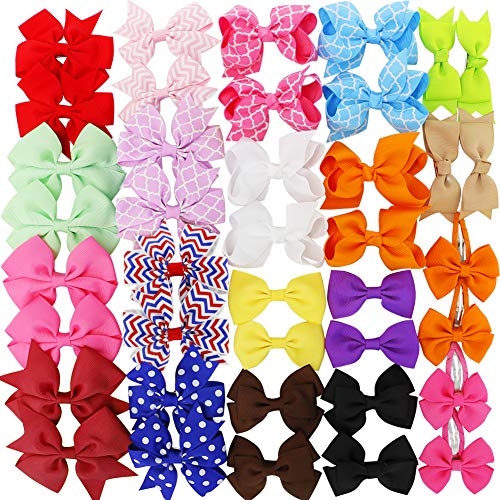 - Girls Grosgrain Ribbon Boutique Hair Bows clips For Kids Baby Teens Toddlers Newborn Set Of 40