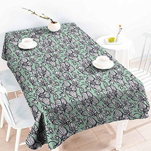 Beihai1Sun Rectangular Tablecloth,Floral Wild Orchids Exotic Spring Blooms Feminine Themed Hand Drawn Plants,Dinner Picnic Table Cloth Home Decoration,W52x70L Mint Green Black White