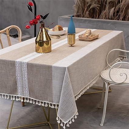 DUXIAODU Rectangle Mantel de Lino de algodón, Mantel para el ...