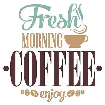 Pegatina de pared de cocinaFresh Morning Coffee Enjoy motivos de ...