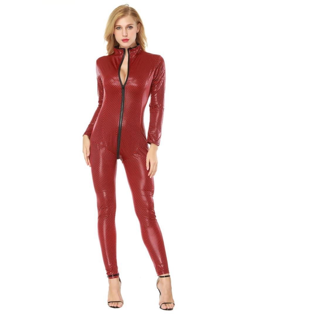 Kanpola_Lingerie Womens Seductive Lingerie, Kanpola Artificial Leather Open Crotch Zipper Bodysuit Siamese Alluring Clubwear