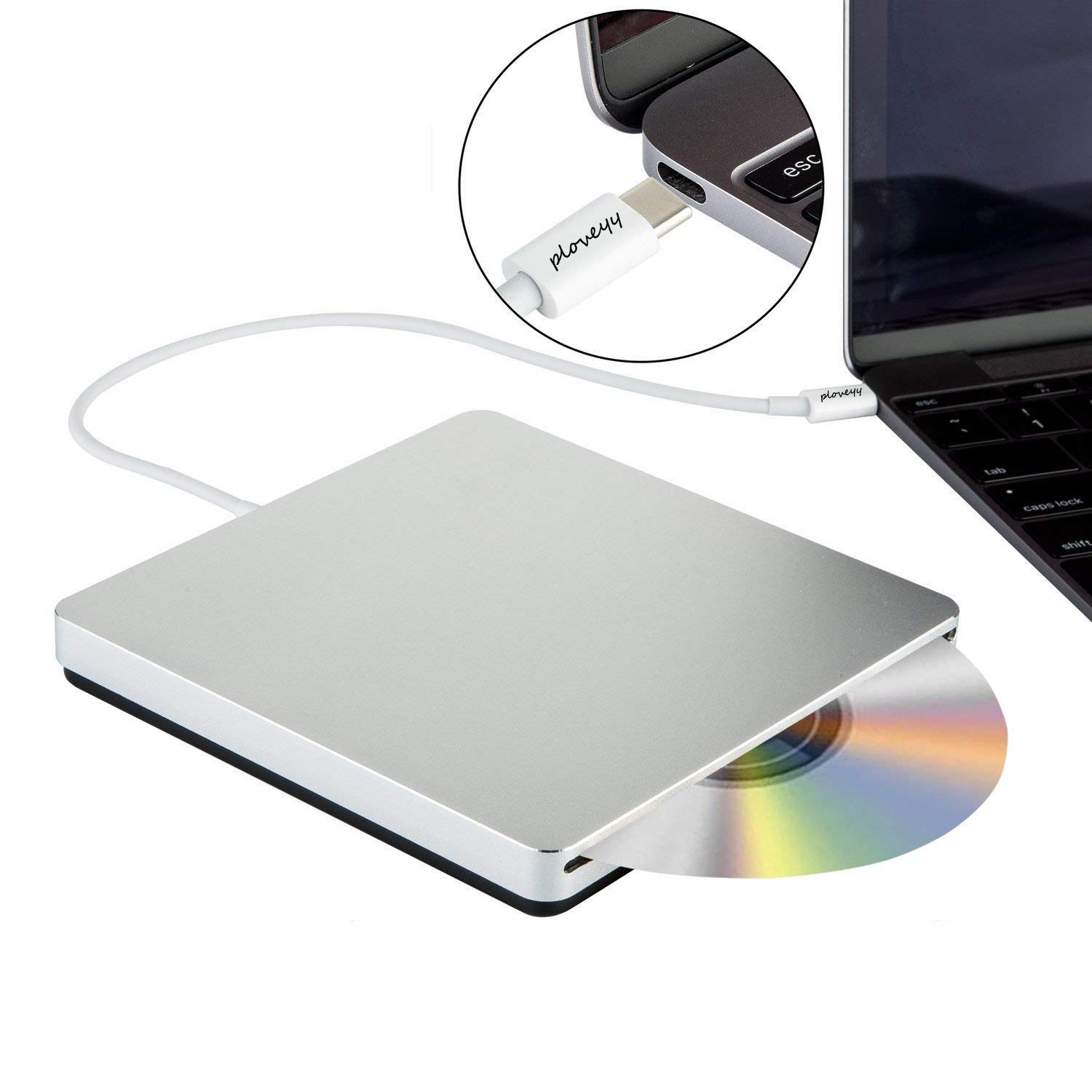 Ploveyy USB-C Superdrive External DVD/CD Reader and DVD/CD Burner for MacBook Air/Pro/iMac/Mini/MacBook Pro/ASUS/DELL Latitude with USB-C Port Plug and Play - Silver, Premium Series by Ploveyy (Image #5)