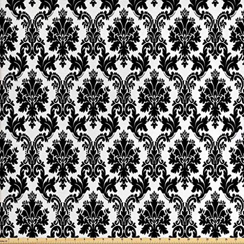 Lunarable Damask Fabric by The Yard, Vintage Style Pattern Classical Victorian Interior Design Elements Floral Print, Decorative Fabric for Upholstery and Home Accents, 2 Yards, Black and White