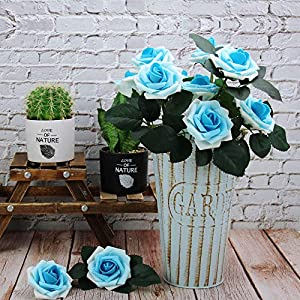Marry Acting Artificial Flower Rose, 30pcs Real Touch Artificial Roses for DIY Bouquets Wedding Party Baby Shower Home Decor (Gradual Flower Blue) 4