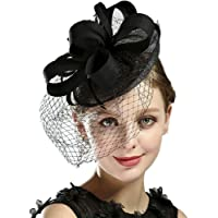 AS ROSE RICH Fascinator Kentucky Derby Hats Cocktail Tea Party Headwear with Veil Girls and Women for Melbourne Cup