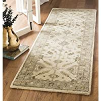 Safavieh Royalty Collection ROY870A Cream and Light Grey Traditional Oriental Wool Runner (23 x 7)
