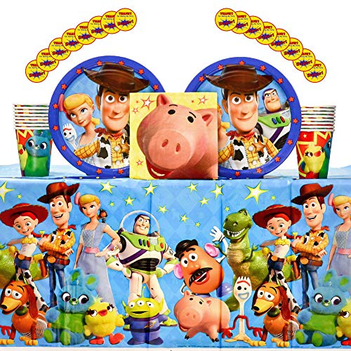 Toy Story 4Supplies Pack for 16 Guests Including Paper Cups, Paper Dinner Plates, Paper Lunch Napkins, Stickers, and Plastic Table Cover (Bundle for 16) -