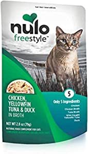 Nulo Freestyle Wet Cat Food, Chicken, Yellowfin Tuna, & Duck in Broth, 2.8 oz Pouches, Case of 24, Green, Model Number: 63PD02