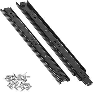 4 Pairs 14 Inch Heavy Duty Full Extension Drawer Slides, STRAWBLEAG 8 Slides Black Silent Ball Bearing Slide, Thicken Side Mount Cabinet Furniture Rails Rack