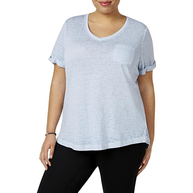 eff4f23b0 Style & Co. Womens Plus Burnout V-Neck T-Shirt Blue 1X at Amazon ...