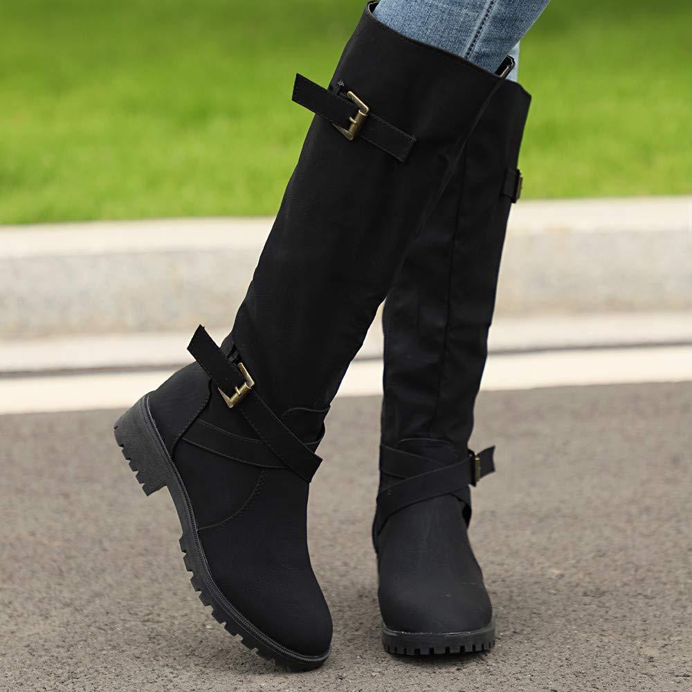 baf413739e9b9 Womens Mid-Calf Boots Winter Knee High Calf Biker Boots Ladies Zip Punk  Military Combat Army Boots
