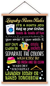Kairne Laundry Room Rule Canvas Art Print With Wood Magnetic Poster Hanger Frame, Funny Laundry Sign Hanging Poster,28X45cm Funny Quote Wall Art