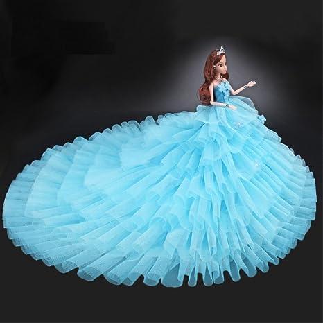 Youvinson Diversi abiti fatti a mano da sposa e vestiti per bambole Barbie  (Azzurro) c2863d06c0e