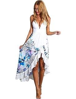Robe de Plage Asymétrique Imprimée Fleurs Col V Porfond Bretelles Fines Bas  Volanté Femme 95189a063b5