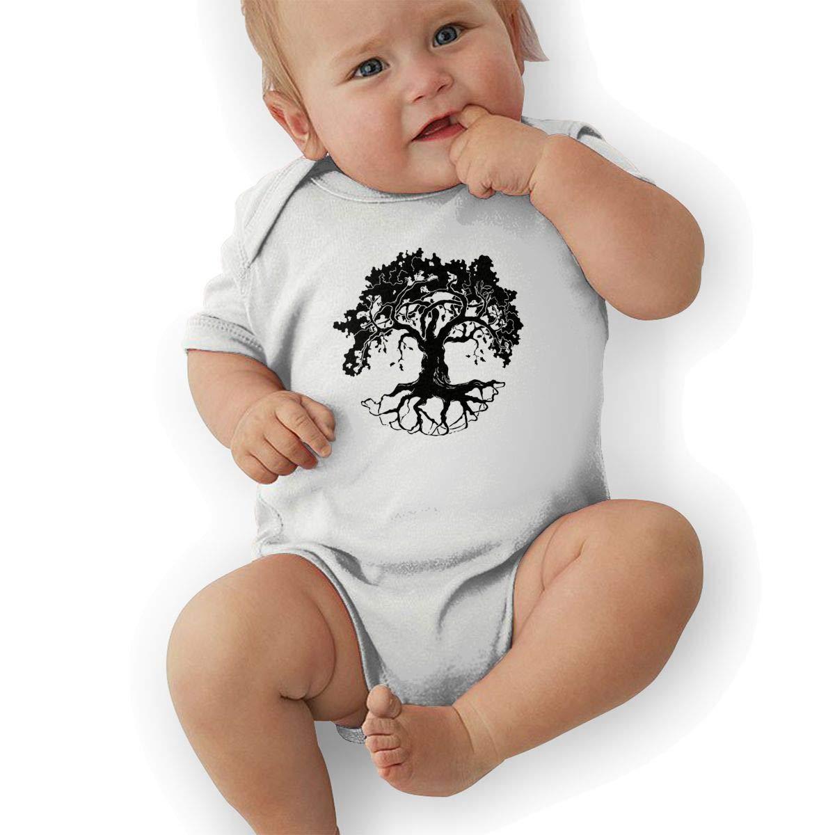 Cute Oak Tree Jumpsuit U88oi-8 Short Sleeve Cotton Bodysuit for Baby Boys and Girls