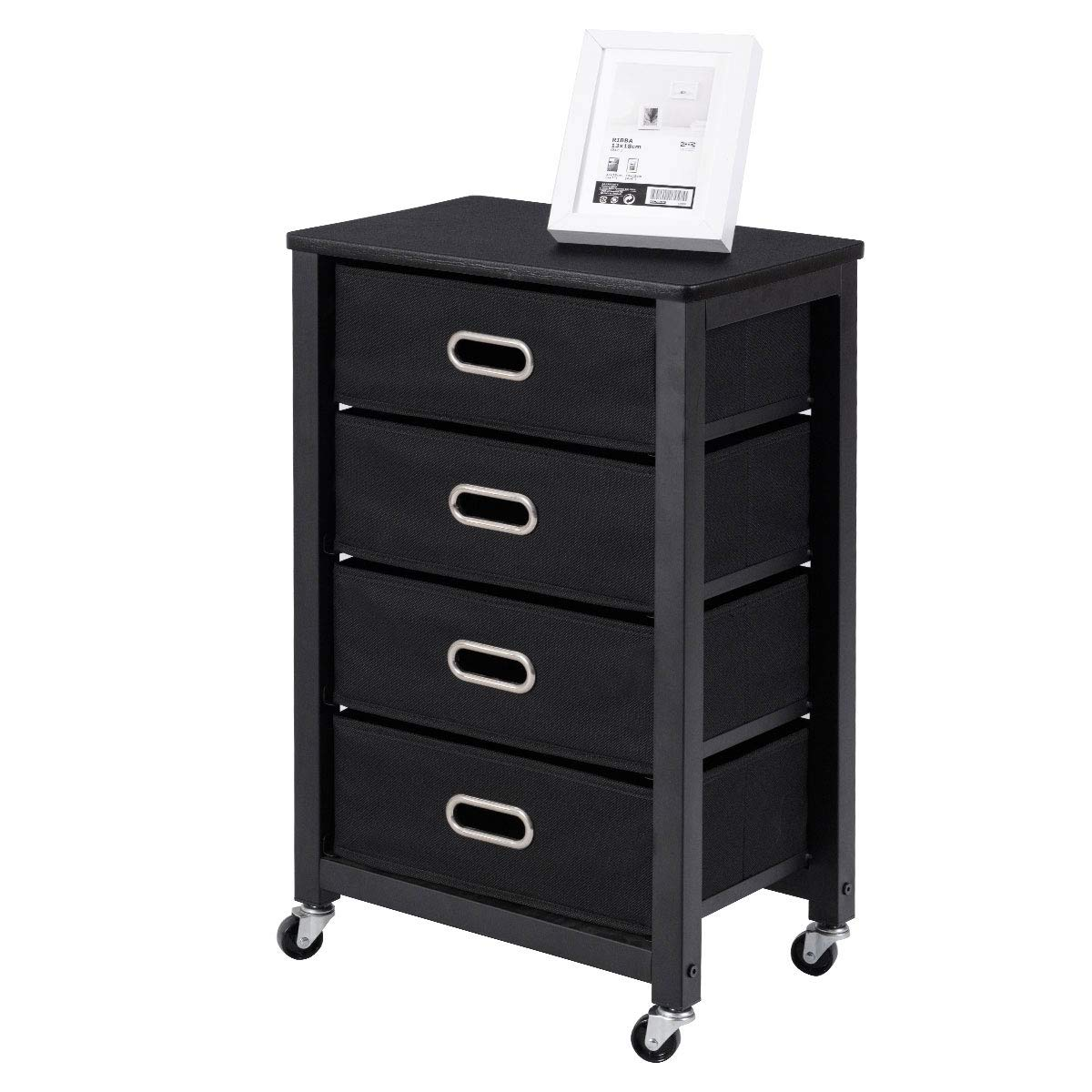 Giantex Filing Cabinet Heavy Duty Mobile Storage Rolling File Cabinet with 4 Drawers Black by Giantex