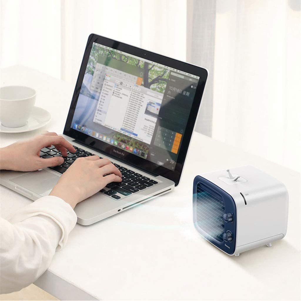 Mini Portable USB Small air Cooler Home humidification air Conditioning Fan Color : Black
